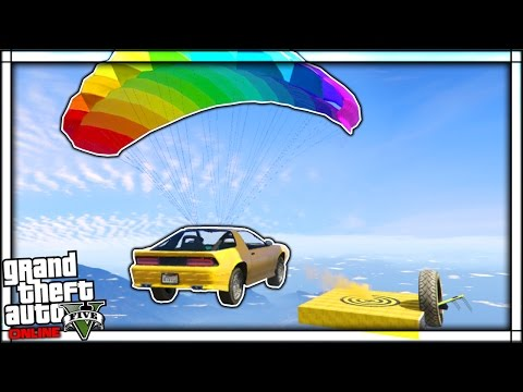 THE ULTIMATE STUNT CAR PARACHUTE RACE GTA 5 Online Funny Moments 2 GTA V