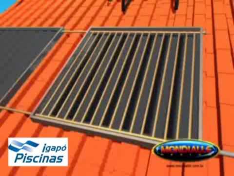Esquema montagem Aquecedor Solar marca Mondialle Igapó Piscinas