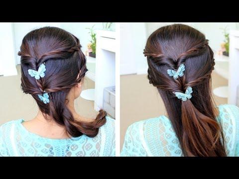 Fancy Rope Braid Half Updo Hairstyle for Medium Long Hair Tutorial