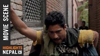 Saugat Malla's Fight Scene - Nepali Movie SHREE 5 AMBARE | Ft. Saugat Malla, Keki Adhikari