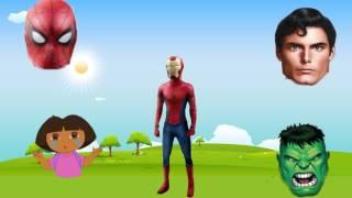 Wrong Heads Superheroes Iron Man Spiderman Hulk Superman Dora Finger Family Song