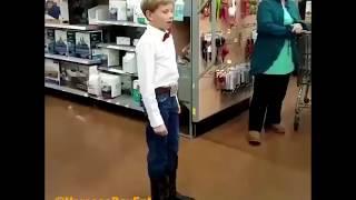 Boy dressed as Cowboy sings  Lovesick Blues in Wal-Mart