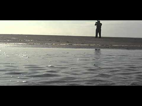 jay wit camera on beach bd cam sitting in water nice on jay stream flowing