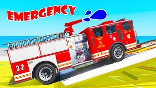 Learn vehicles 3D w Emergency cars and truck Spiderman cartoon for kids nursery rhymes for children