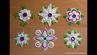 6 Easy, quick and unique flower rangoli patterns | Easy rangoli designs with colors by Poonam Borkar