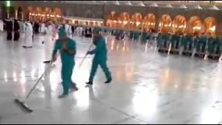 Nettoyage de la grande mosquée Masjid al haram #Makkah