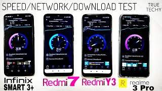 Realme 3 Pro vs Infinix Smart 3 Plus vs Redmi 7 vs Redmi Y3 Speed Test, Downloading test, Run test