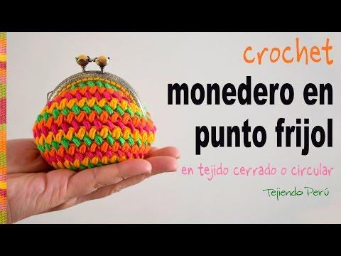 Monedero con broche en punto frijol tejido en circular a crochet Tejiendo Perú
