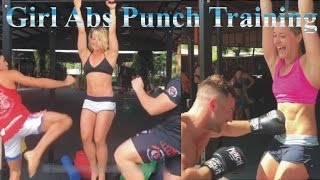 Girl abs punch training with Belly punching