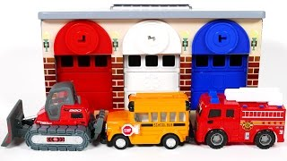 School Bus Fire Truck and Bulldozer Park in Garage Parking Playset for Children Learn Colors for Kid