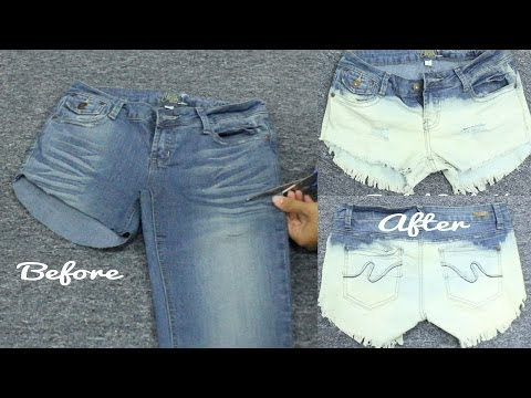 DIY Turn Your Old Pants Into Cool Bleached Distressed Shorts