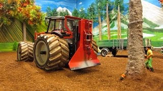 RC TRACTOR Massey-Ferguson & Claas  vs.a tree - R/C model toys in action
