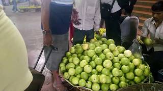 street food healthy guava on subway kolkata. fruit guava is best and full of vitamins minerals fiber