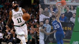Masked Kyrie Irving 36 Pts! Ben Simmons Reverse Put Back! 76ers vs Celtics 2017-18 Season