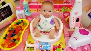Doctor Baby doll and Hello Kitty hospital toys play