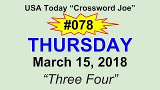 """#078 USA Today Crossword """"Three Four"""" March 15, 2018"""