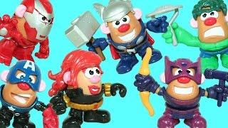 Marvel Heroes Mr. Potato Head Super Pack Black Widow Thor Hawkeye Iron Man & Play Doh Surprise