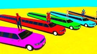 Learn COLORS LONG CARS w Superheroes Cartoon Animation for Kids & Children Nursery Rhymes