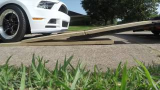 Loading up a low mustang on a car trailer