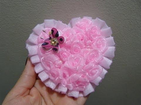 corazon de flores miniatura en cinta organza para decorar accesorios video 219