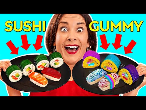 REAL FOOD VS GUMMY Eating World's Largest Gummy GIANT FOOD Tasting by 123 GO Challenge