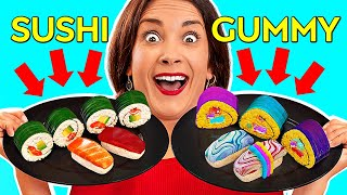 REAL FOOD VS GUMMY    Eating World's Largest Gummy! GIANT FOOD Tasting by 123 GO! Challenge