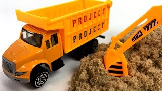 STORY AT THE JOBSITE WITH CONSTRUCTION VEHICLES DUMP TRUCK EXCAVATOR STEAM ROLLER AND CEMENT MIXER
