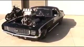 Blown chevy camaro start,idle and rev!!!