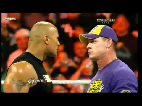 raw the rock vs cena vs miz