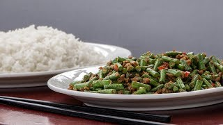 Chinese stir-fried green Beans with minced Soya - Vegetarian Recipe
