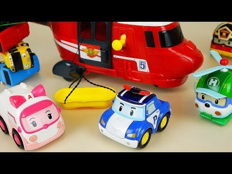 Police car toys Poli helicopter and rescue play