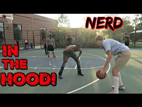 Nerd Plays Basketball In The HOOD