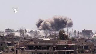 قصف جوي وصاروخي عنيف على أحياء درعا البلد في مدينة درعا 3 - 6- 2017