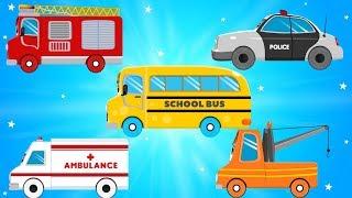 Car Transport Truck Carrying Fire Truck And Ambulance for Kids Videos - Children Cartoons