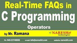Operators  | C Technical Interview Questions and Answers | Mr. Ramana