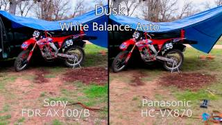Sony FDR-AX100 vs Panasonic HC-VX870 -- Video camera outdoor side-by-side comparison