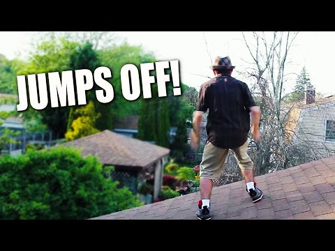 OLD MAN JUMPS OFF ROOF