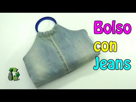125. Manualidades Como hacer Bolso con jeans viejos Reciclaje Ecobrisa.