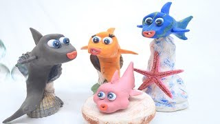 Baby Shark Family Learning Time Video Play Doh kids Cartoon stop motion