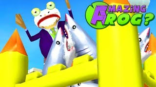CAN JOKE FROG SURVIVE THE SHARK BOUNCE HOUSE? - Amazing Frog - Part 153 | Pungence