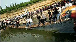People Shake the bridge Insane until fall into water |funny videos|fail video|prank video