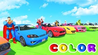 FUN LEARN COLORS CARS IN TRACTOR w/ Superheroes 3D Animation for Children and Babies
