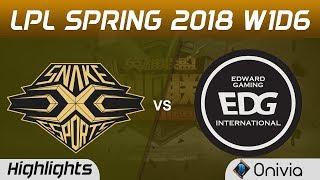 SS vs EDG Highlights Game 2 LPL Spring 2018 W1D6 Snake vs Edward Gaming by Onivia