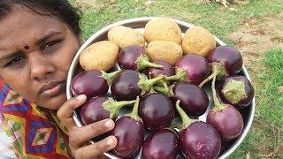Cooking Brinjal/Potato Masala Fry in My Village - Simple Recipe
