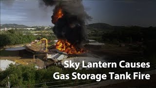 Footage shows sky lantern that caused gas storage tank fire in Goyang