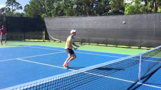 Cookie Bernard- approach +volley and good footwork  coordination. Amaury de beer