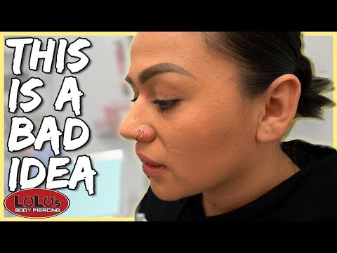 Piercing Her Nose With A Hoop Not A Good Idea!!