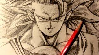 ASMR   Pencil Drawing 34   Super Saiyan 3 Goku (Request)