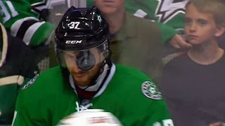 Patrik Nemeth gets puck caught in visor