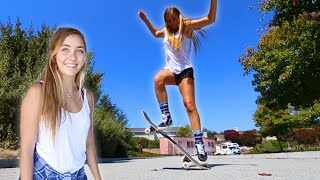 GIRLS TRY SKATEBOARDING FOR THE FIRST TIME!